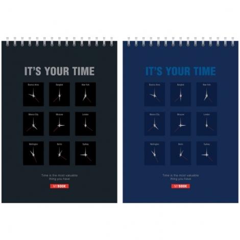 """Блокнот А5 40л. на гребне """"Офис. It's your time"""", эконом"""