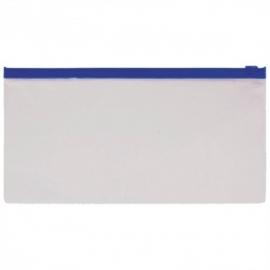 Папка на молнии 110мкм, прозрачная,  для ж/д и авиа билетов(узк)