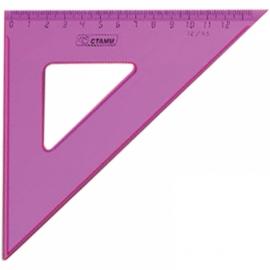 Треугольник 45гр, 12см, прозрачный флуоресцентный, 4 цвета