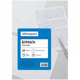 Бумага писчая OfficeSpace, А4, 100л, 55 г/м2, в клетку