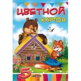 Картон цветной А4 5л. ТЕРЕМОК (05-1285) КБС, 5 цветов, 240 г/